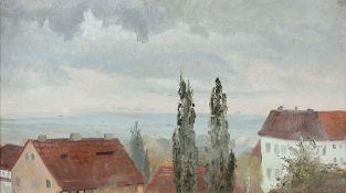 Adolf Friedrich 1824 Dresden - 1889 Dresden - Weite Landschaft mit Blick über Häuser - Öl/