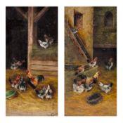 Alfred Prehn Künstler des 19./20. Jahrhunderts - Hühner im Heu - Öl/Lwd. 63 x 31,3 cm. Sig