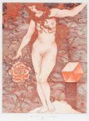 """W.P.Eberhard Eggers 1939 Hannover - 2004 Hannover - """"Am Beispiel des Samens"""" - Farbradierung/"""