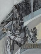 László Kósza Sipos 1943 Budapest - 1989 Empelde - Surreale Szene - Tusche und Aquarell/Pap