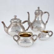 4tlg. Kaffee- und Teeservice Wilkens/Bremen. 800er Silber. Punzen: Herst.-Marke, 800, Halbmon