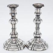 Paar Tafelleuchter Robert Gainsford/Sheffield/England, um 1870. 925er Silber. Punzen: Herst.-