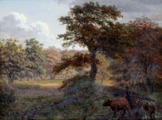 Gotfred Rump 1816 Hillerød - 1880 - Frühherbstlicher Wald mit Viehtreiber - Öl/Holz. 15 x