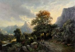 Everhardus Koster 1817 Den Haag - 1892 Dordrecht - Gebirgige Landschaft mit Schloss und Figur