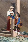 Pietra Dura-Bild Italien, Ende 19. Jahrhundert. Verschiedene Steinarten. 24,6 x 17,2 cm. Rahm