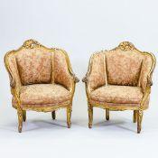 Paar Bergère Louis XVI Frankreich, um 1890. Holz, gefasst. 46/93 x 82 x 80 cm. Rest.bed.