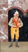 Pietra Dura-Bild Italien, Ende 19. Jahrhundert. Verschiedene Steinarten. 25 x 14,5 cm. Rahmen