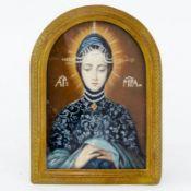 Marien-Andachtsbild auf Elfenbein Russisch, um 1900. Gouache/Elfenbein. 10,1 x 6,8 cm. Im Bil