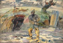 """Georg Wolf 1882 Niederhausbergen/Elsaß - 1962 Uelzen - """"Erdbunker am Chemin des Dames"""" - Aqu"""