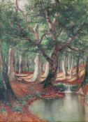 Franz Hoffmann-Fallersleben 1855 Weimar - 1927 Berlin - Waldlandschaft mit Bachlauf - Öl/Lwd