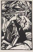 """Erich Heckel 1883 Döbeln - 1970 Radolfzell - """"Kniende am Stein"""" - Holzschnitt/Papier. 50 x 3"""