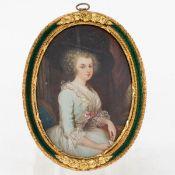 Miniatur einer Dame des Rokoko 19. Jahrhundert. Gouache/Elfenbein. 8,6 x 6,5 cm (hochoval). U