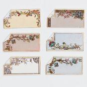 6 Tischkarten zum Beschriften - Unterschiedliche Blumenranken - Keramik, heller Scherben. Pol