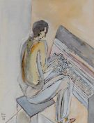 László Kósza Sipos 1943 Budapest - 1989 Empelde - Pianist - Tusche und Aquarell/Papier. 32