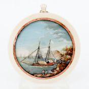 Seltene Miniatur-Küstenlandschaft Um 1800. Ölfarbe, Staffage, Elfenbein, Kupfer. D. Bild /