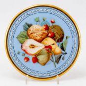 Untersetzer - Früchte: Walnüsse, Birnen und Erdbeeren - Porzellan, weiß, glasiert. Polychr