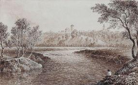 Robert Batty 1789 London - 1848 London - Trendelburg - Tusche/Papier auf Unterlegkarton. 12,5