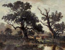 """Fritz Halberg-Krauss 1874 Stadtprozelten - 1951 Prien am Chiemsee - """"Die Weide im Bruch"""" - Ö"""