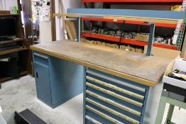 """Lista 2 Tier Work Table, 8 Drawer/Cabinet, 6' x 30"""" x 56"""""""