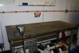 """Heavy Duty Shop Table with Taskmaster #5 Table Vise, 6' x 30"""" x 34"""" ( Table and Vise Only)"""