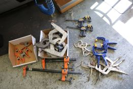 """Steel Pipe Clamps, Kanttwist C- Clamps 6"""", 4 1/2"""" and 2"""", Irwin Quick Grip Clamps and Various Vise"""