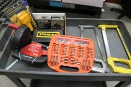 (2) Hack Saws, Zircon Stud Sensor Stud Finder, 10 Piece Knockout Punch Set, Stanley Drill Set, and