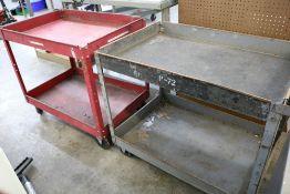 (2) 2 Tier Heavy Duty Metal Rolling Carts