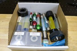 Box of Various Size Ring Gages and Pin Gages with Holders