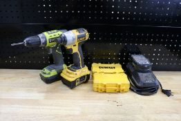 Ryobi Cordless Drill 16v with Charger and 18v DeWalt XRP Cordless Drill and (2) DeWalt Incomplete