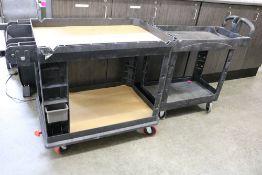 (2) 2 Tier Heavy Duty Plastic Rolling Carts