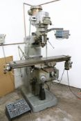 """Bridgeport Knee Mill 2 HP with X Axis Servo and Acu-Rite Mill Mate DRO, 19"""" x 48"""" Table, Includes R8"""