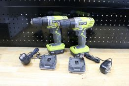 (2) Ryobi 12v Cordless Drills with Batteries and Chargers