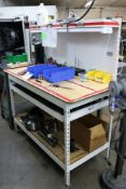 Metal Work Station Table with Wood Top, 3 Tier, Drawer with Peg Board (TABLE ONLY other contents not
