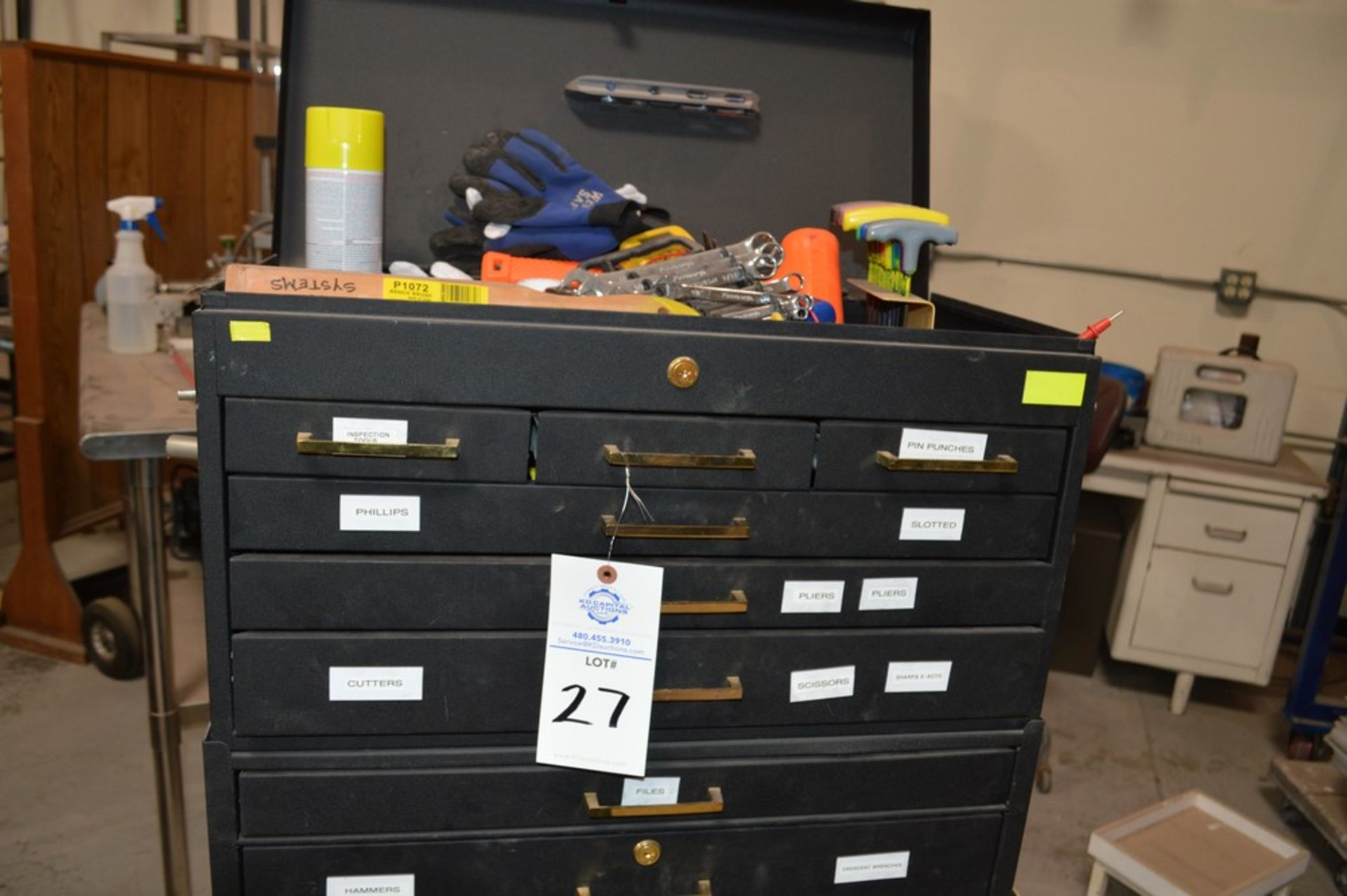 (1) Rolling toolbox with contents, 6 drawer top (2) drawer middle, roller cabinet chest 3 drawer - Image 2 of 11