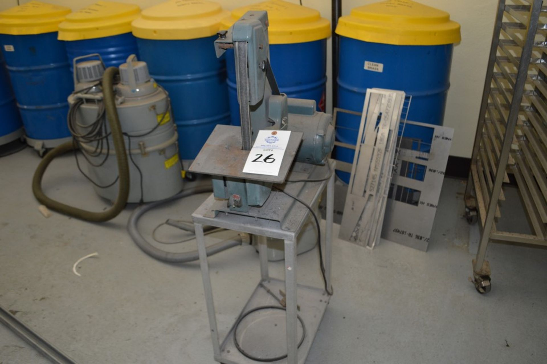 """1"""" x 8"""" Belt and Disc Sander on small metal rolling stand"""