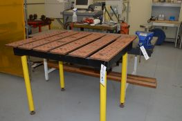 """8"""" Swivel Base Vise mounted on heavy steel top welding table and Strong Hand yellow slotted welding"""