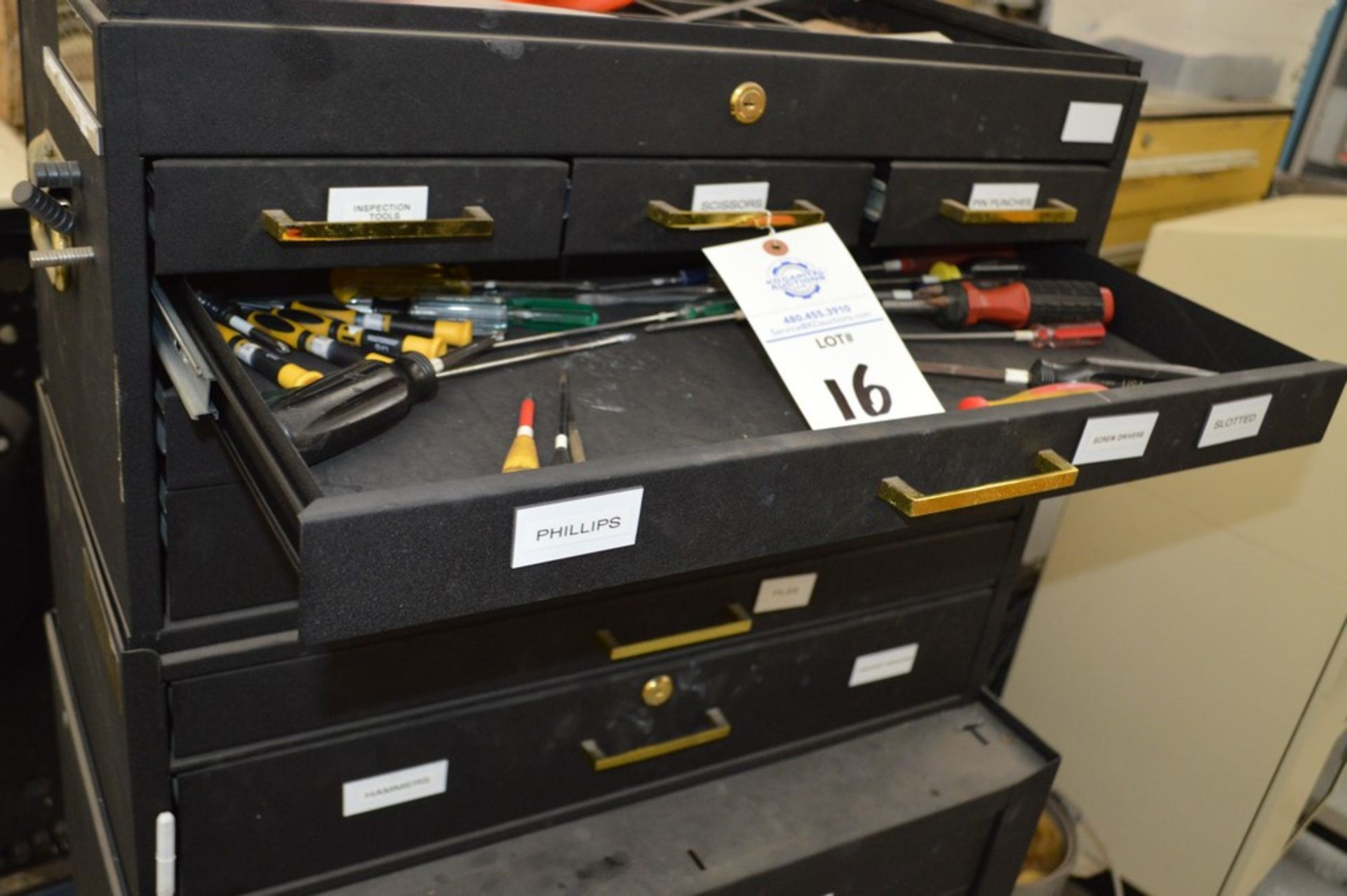 (1) Rolling toolbox with contents, 6 drawer top, 2 drawer middle, roller cabinet chest 3 drawer with - Image 6 of 11