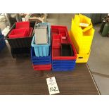Assorted hard plastic parts bins in various sizes