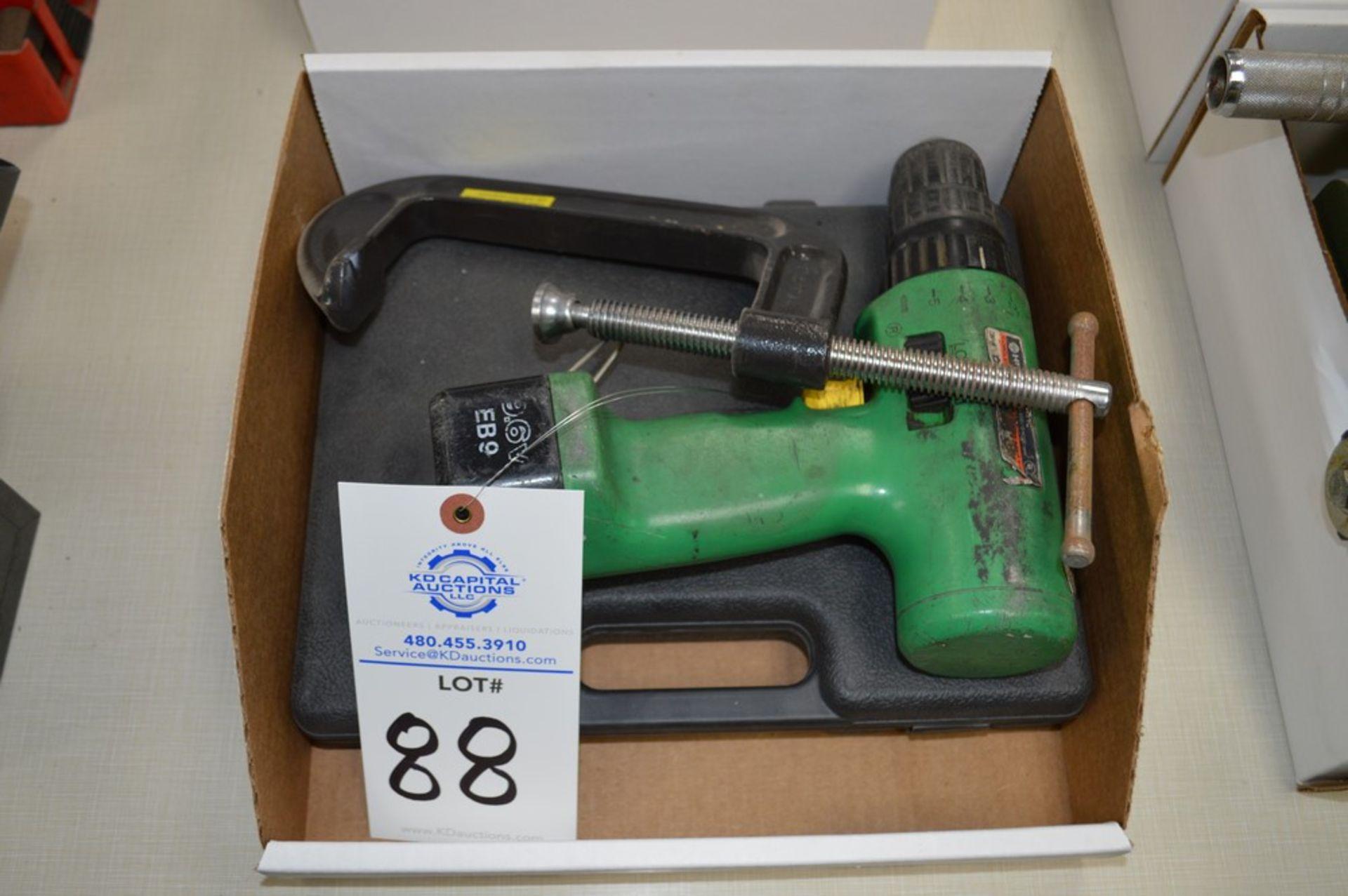 """Hitachi 9.6 Volt cordless drill, 6"""" C clamp, screwdriver set"""