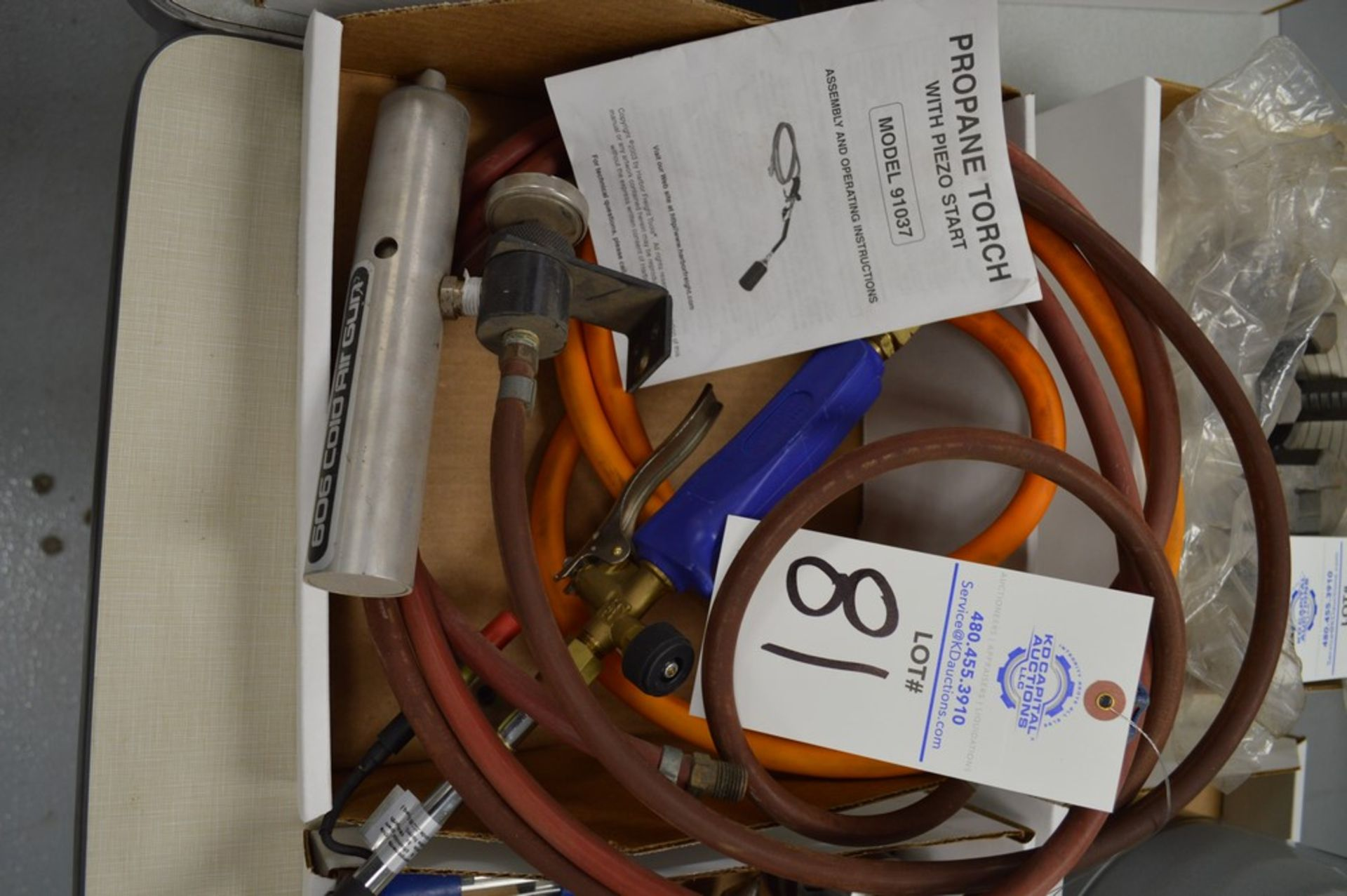 """606 Cold Air gun and model 91037 propane torch with 1/4"""" NPT air inlet"""
