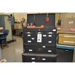 (1) Rolling toolbox with contents, 6 drawer top, 2 drawer middle, roller cabinet chest 3 drawer with