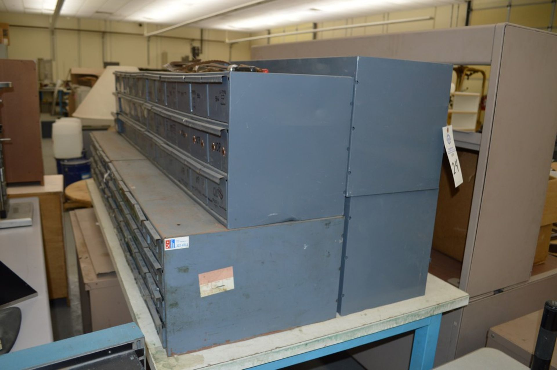 8 Metal cabinets with punch tooling and accessories, all contents included - Image 3 of 9