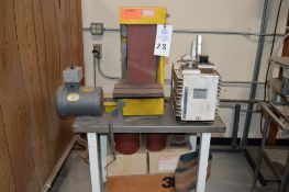 """Kalamazoo Industries 6"""" x 48"""" Belt Vertical Belt Sander with stand, extra belts, parts and pieces,"""