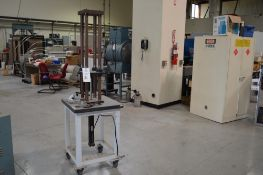 """Parker Hydraulics, rolling 4 post vertical air operated press, 250 psi max 6"""" x 6"""" rigid Thompson"""