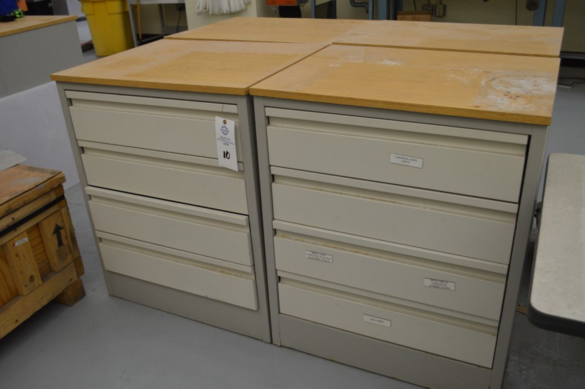 """(3) 4 Drawer Metal Cabinets with wood finished formica tops, 24"""" x 30.5"""", 36.5"""" Tall - Image 2 of 5"""