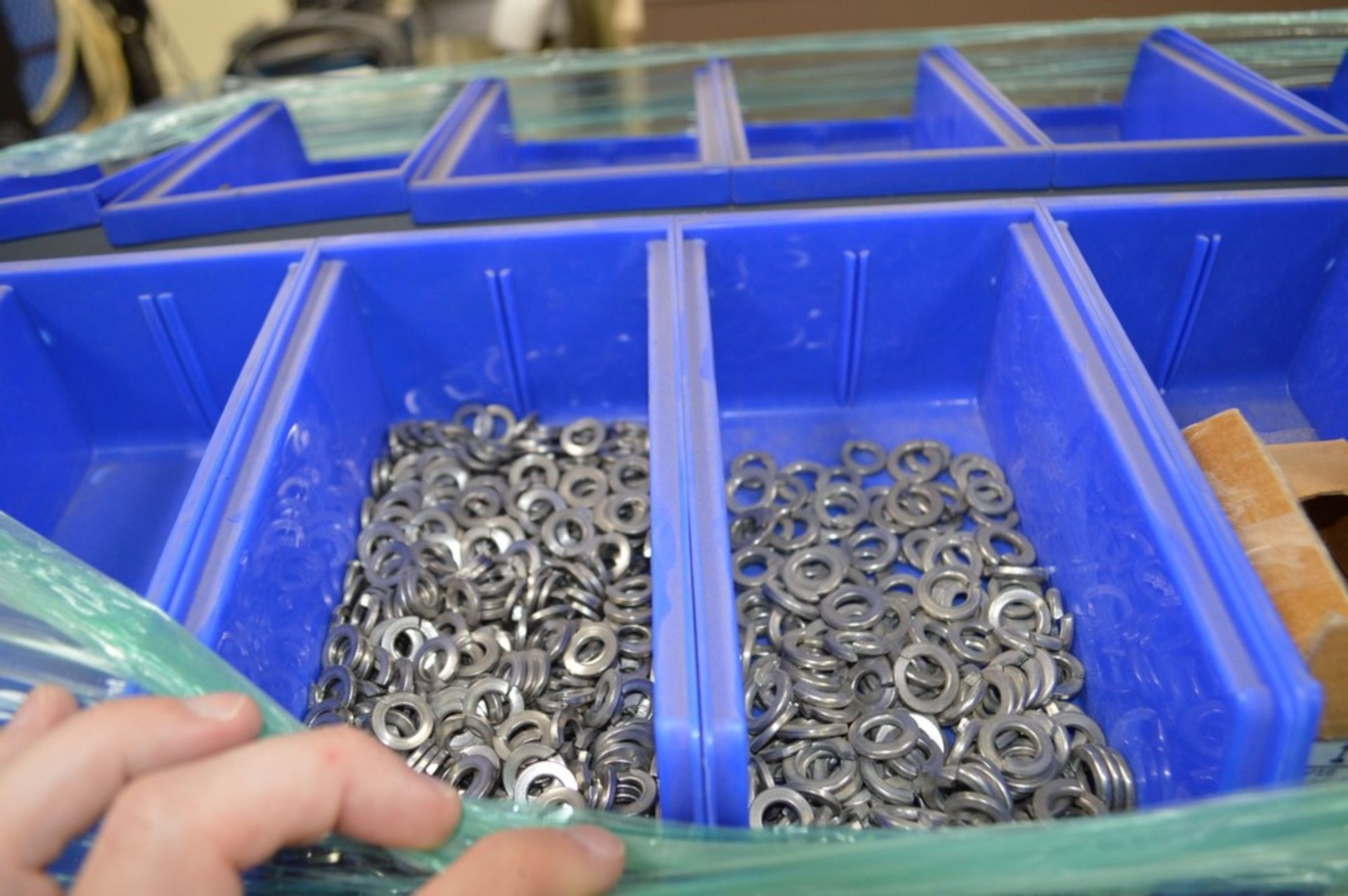 Grey rolling rack with blue bins, giant assortment Stainless Steel allen wrench head Cap Screws. - Image 4 of 5