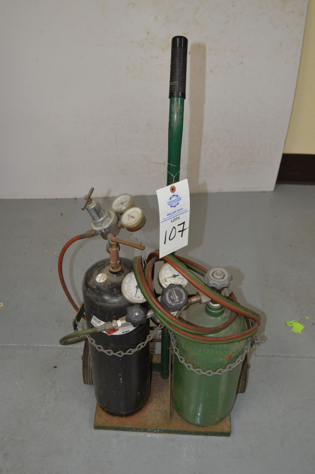Acetylene torch on small rolling cart