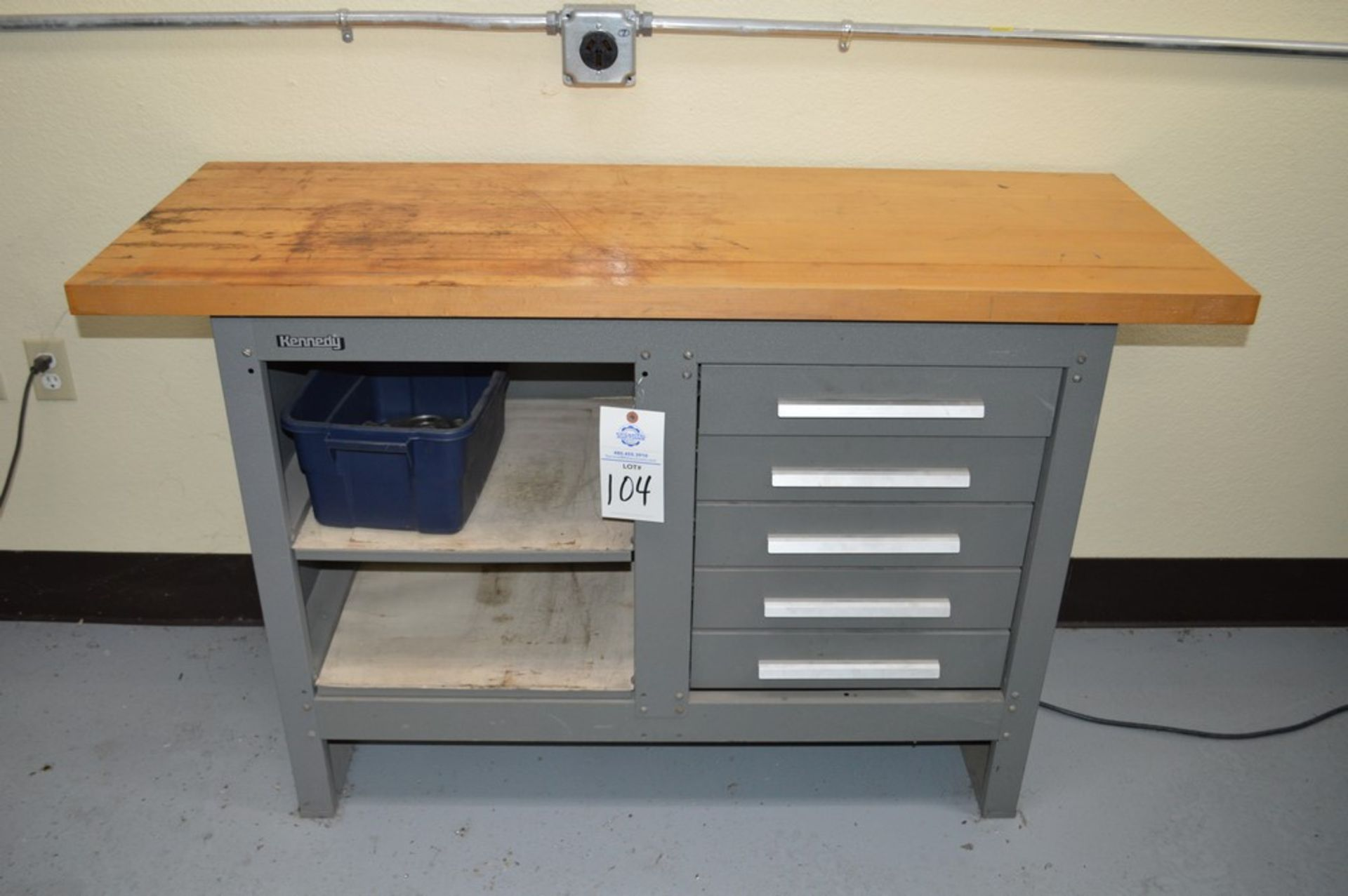 """Kennedy Wood Top, 5 drawer work bench, 54"""" x 20"""" wood top, 34.5"""" tall"""