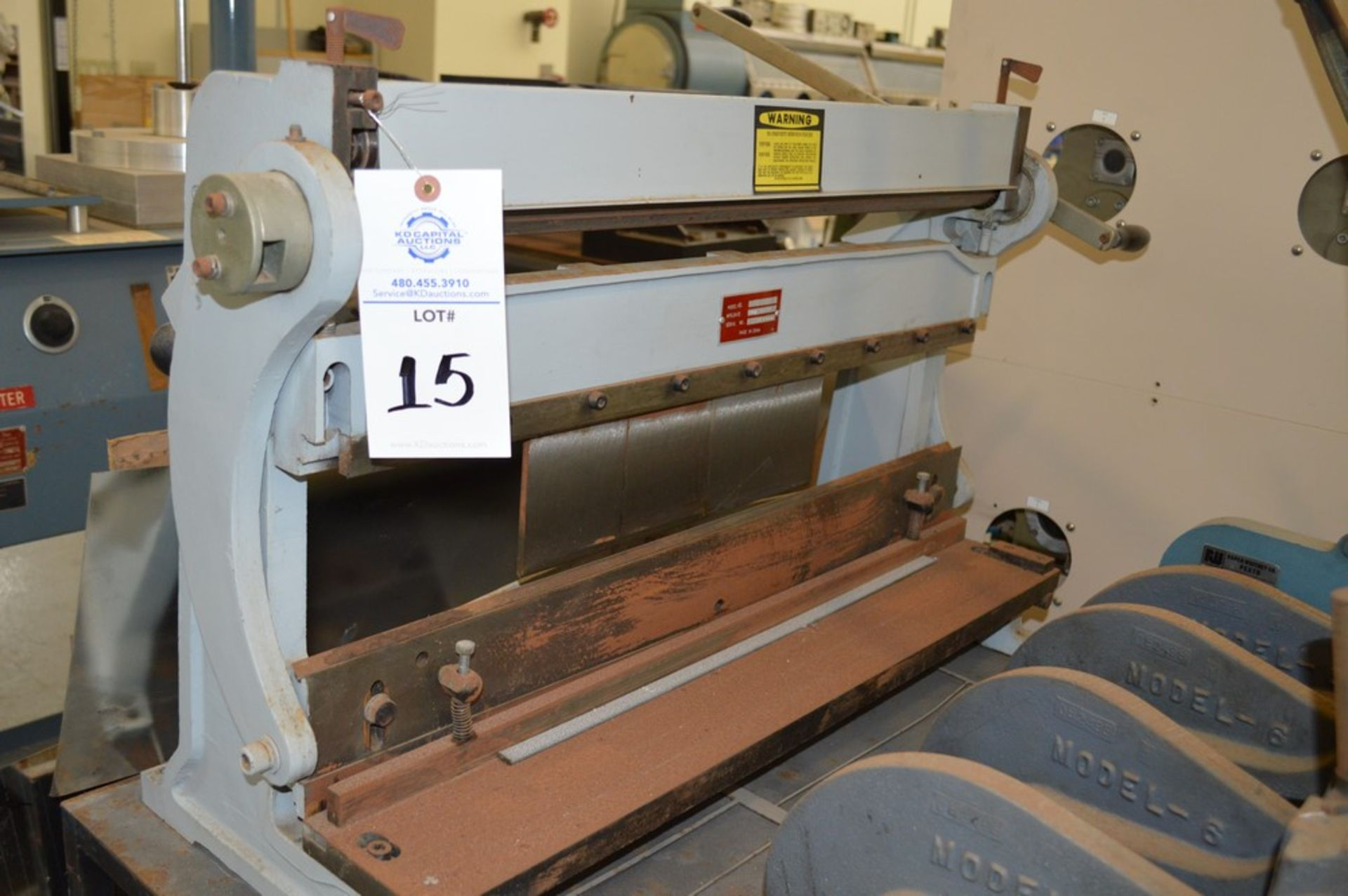 1995 Combined Manual Shear and Break black metal stand, metal rolls, (4 Each) Henrich/Pexto Model- - Image 7 of 8
