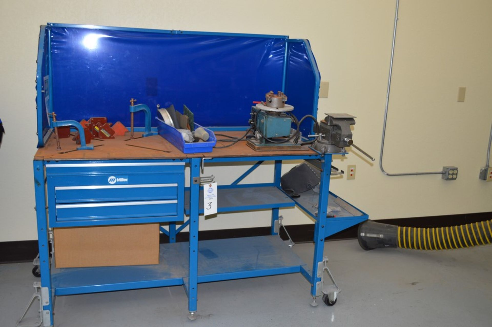 """Miller Welding Table, 3 Drawers, Jetline System not included in sale, Magnetic Hold Downs, Manual 5"""" - Image 4 of 6"""